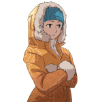 防寒具の女性, woman, winter clothes